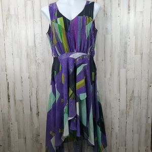 Kenneth Cole Womens Dress S Purple Abstract